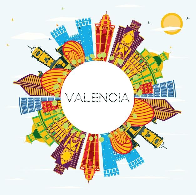 컬러 건물, 푸른 하늘 및 복사 공간이 있는 발렌시아 스페인 도시의 스카이라인. 삽화