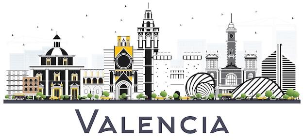 흰색 절연 색상 건물 발렌시아 스페인 도시의 스카이 라인. 벡터 일러스트 레이 션. 역사적인 건축과 비즈니스 여행 및 관광 개념. 랜드마크가 있는 발렌시아 도시 풍경.