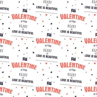 발렌타인 데이 패턴입니다. 그것은 당신의 마음 인쇄술 따옴표와 마음에 발렌타인입니다. 트렌드 리빙 코랄 2019 컬러 팔레트. 휴일 완벽 한 디자인입니다. 선물 포장용, 직물 인쇄용. 스톡 벡터입니다.