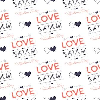 발렌타인 데이 패턴입니다. 사랑은 공기 타이포그래피 인용문과 마음에 있습니다. 트렌드 리빙 코랄 2019 컬러 팔레트. 휴일 완벽 한 디자인입니다. 선물 포장용, 직물 인쇄용. 스톡 벡터 절연입니다.