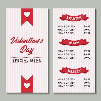 Valentie special menu soft background