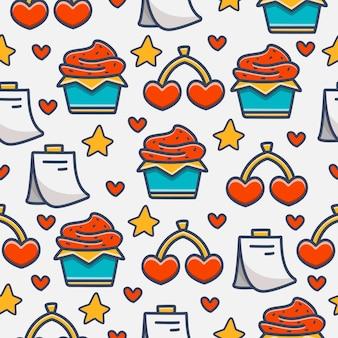 발렌틴의 만화 낙서 패턴 디자인