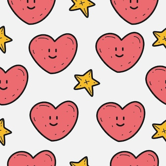 Valentin's cartoon doodle pattern  template