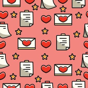 バレンタインの落書き漫画のシームレスなパターンデザイン