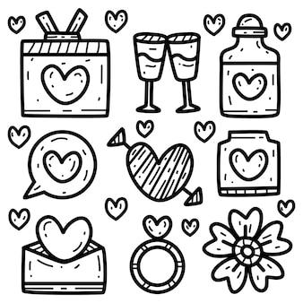 Valentinのかわいい漫画落書きデザインイラスト
