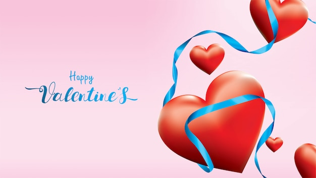 Valentine 3d colorful red romantic hearts shape flying and floating blue silk ribbon on pink background.