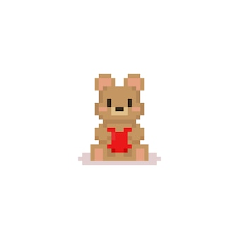 ピクセルクマは赤いハートを抱きしめます。valentine.8bit。