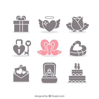 Valentine and wedding icons