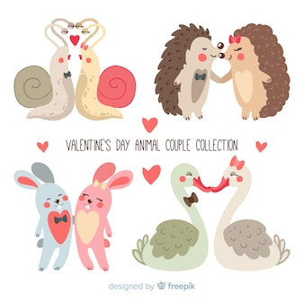 Valentine animal couple set