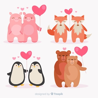 Valentine animal couple with balloon pack