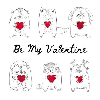 Valentine animalsコミック漫画ベクトルイラストセット