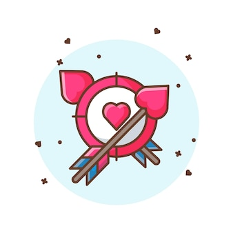 Valentine arrow and target  icon illustrations. valentine icon concept white isolated.