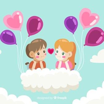 Valentine background couple floating