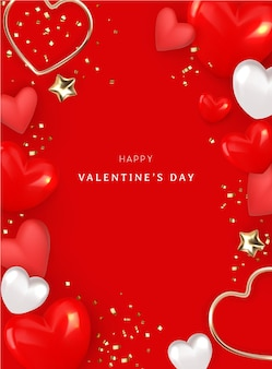 하트와 황금 크롬 스타 일러스트와 함께 발렌타인 배경 디자인