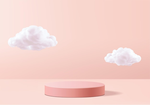 Valentine background   pink rendering with podium and cloud white scene, cloud  minimal background rendering valentine love pink pastel podium. stage pink on cloud render background