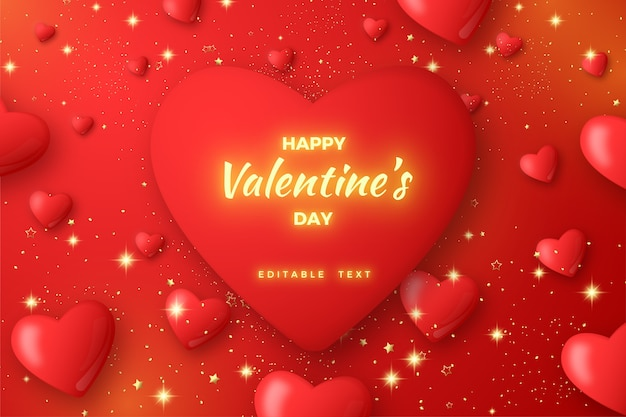 Valentine background, with 3d love balloons and fancy glowing text