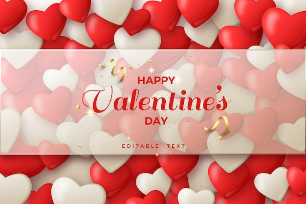 Valentine background with 3d white and red balloons