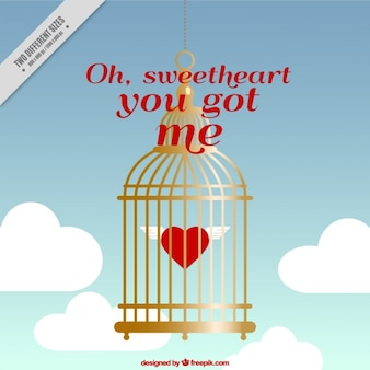 Valentine background with heart inside a golden cage