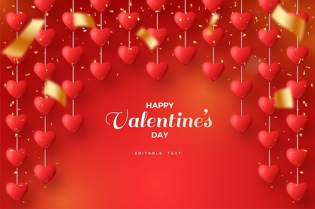 Valentine background with love balloons hanging on red background