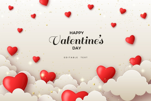Valentine background with love balloons and white clouds