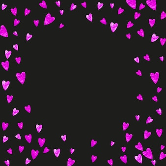 ピンクのキラキラハートとバレンタインの背景。 2月14日。バレンタインの背景テンプレートのベクトル紙吹雪。グランジ手描きのテクスチャ。