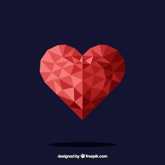 Valentine background with polygonal heart