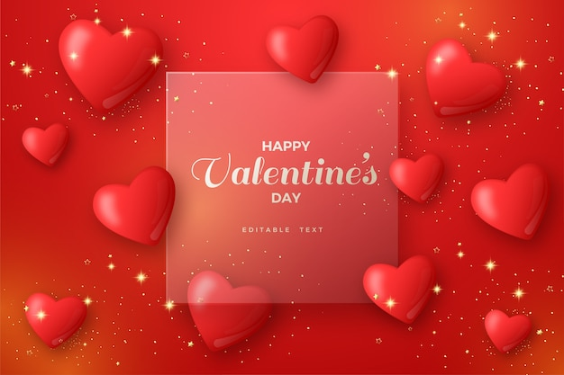 Valentine background with red balloons and 3d clear glass