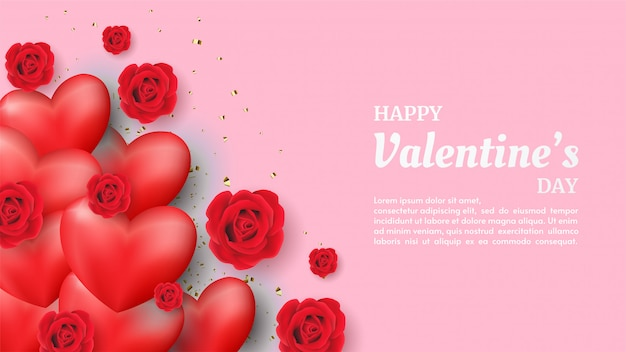Valentine background with red love balloon illustration with red rose illustration on pink