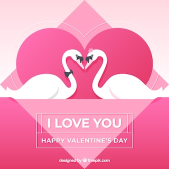 Valentine background with swans