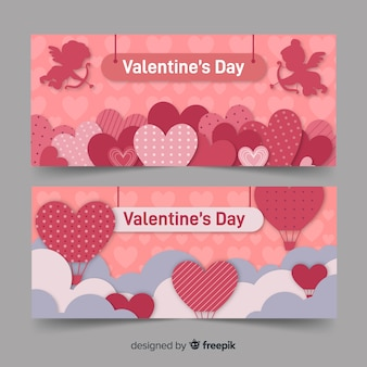 Valentine banner hearts and hot air balloon