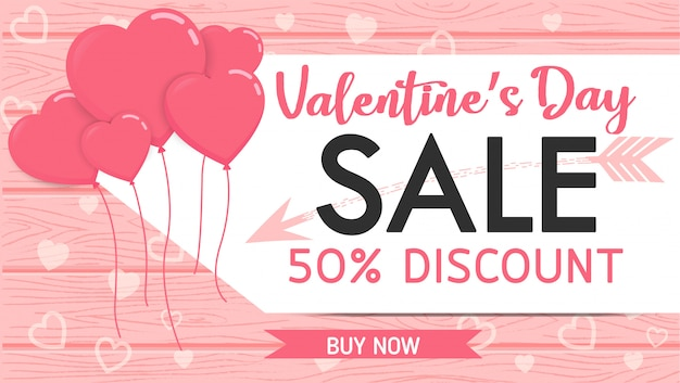 Valentine banner sale wood with heart balloons