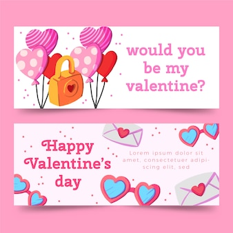 Valentine banners in watercolour with balloons and letters
