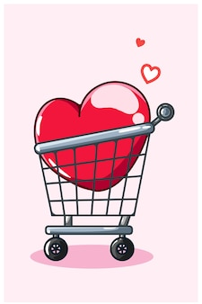 トロリー漫画イラストのバレンタインビッグハート