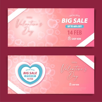 Valentine big sale gift voucher and coupon design template with transparent bubble heart