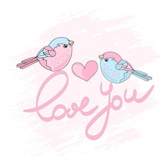 Valentine birds春漫画ベクトルイラストセット