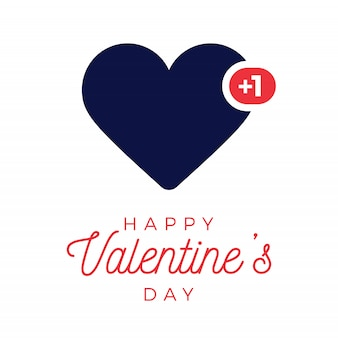 Valentine blue heart like counter, comment follower and notification symbol