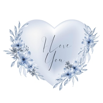 Валентина синяя форма сердца я люблю тебя слова с акварельным цветком и листьями