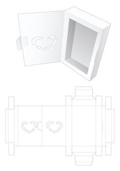 심장 모양의 창 다이 컷 템플릿이있는 플립 오프닝이있는 발렌타인 상자