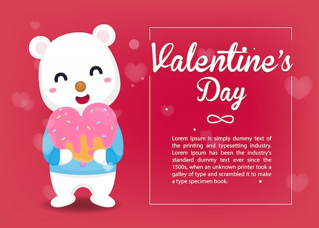 Valentine card. cute bear hug sweet heat with valentine's day template.