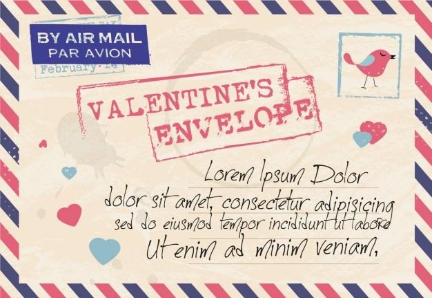 Valentine card in envelope form