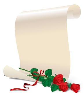3 개의 빨간 장미와 흰 종이의 발렌타인 데이 카드