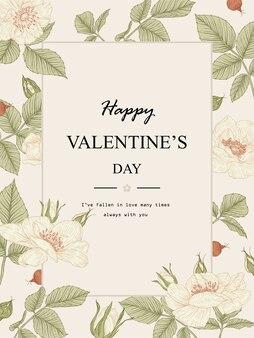 Valentine card. rose flower drawings. beautiful line art. botanical illustrations.