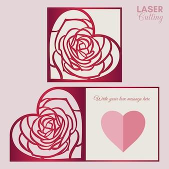 Шаблон валентинки для лазерной резки с сердечком в форме розы.