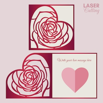 Valentine card template for laser cutting with rose patterned heart.