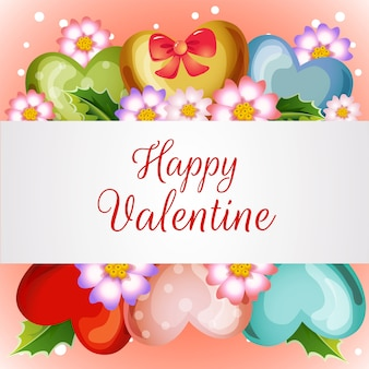 Valentine card with blossom love balloon