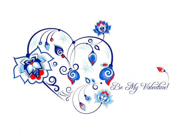Valentine card with blue flowers in slavic style