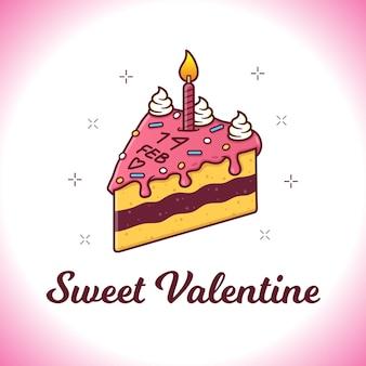 케이크 일러스트와 함께 발렌타인 데이 카드