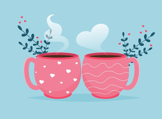Valentine card with coffee cups. love you banner. romantic holiday valentine day poster or greeting card.