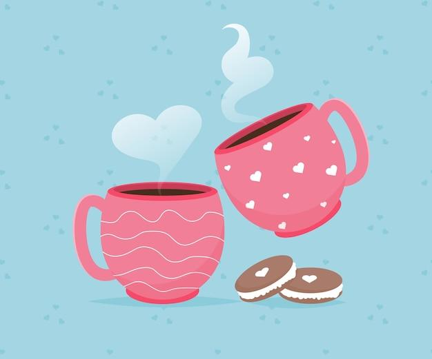 コーヒーカップマカロンデザートとバレンタインカード。あなたを愛してます。ロマンチックな休日のバレンタインデー。ギフト招待のコンセプト。かわいいハートのデザイン。幸せなバレンタインデーのコンセプト。ベクター