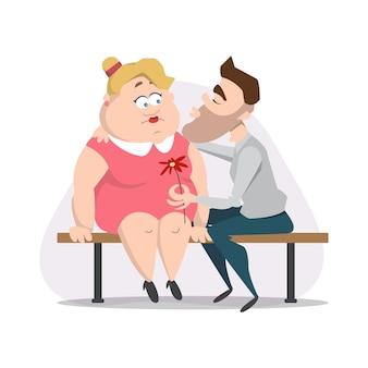 귀여운 캐릭터와 함께 발렌타인 카드입니다. 남자는 벤치에서 여자에게 키스를 사랑합니다. 낭만적 인 데이트에 통통한 소녀 프리미엄 벡터
